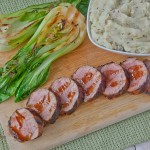 Spicy Asian Pork Tenderloin with Pear Mashed Potatoes and Grilled Baby Bok Choy