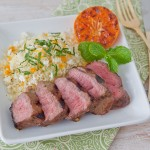 Grilled Lamb Over Minted Couscous with Feta and Grilled Tangerines